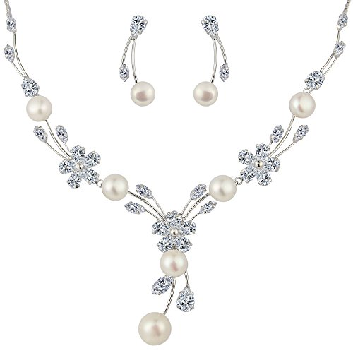 88de701d9 Cz color: clear; simulated pearl color: ivory color; necklace length: 16.  5in-18. 7in, pendant Length: 2. 0in, earring Size: 04in by 1.