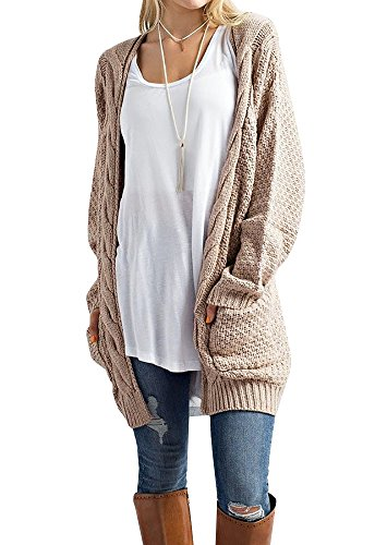39484139dbdb Imily Bela Women s Boho Long Sleeve Open Front Chunky Warm Cardigans  Pointelle Pullover Sweater Blouses