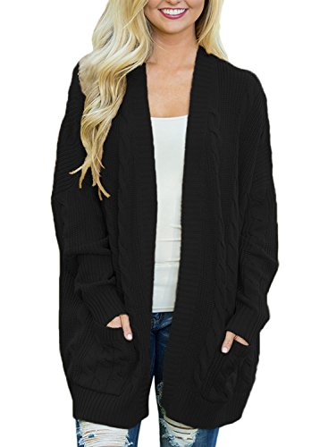 c76cf5359afc Dokotoo Womens Fashion Ladies Cozy Casual Autumn Fall Winter Long Sleeve  Open Front Knit Cardigans Sweaters Pullover With Pocket Outwear Coat Black  Large