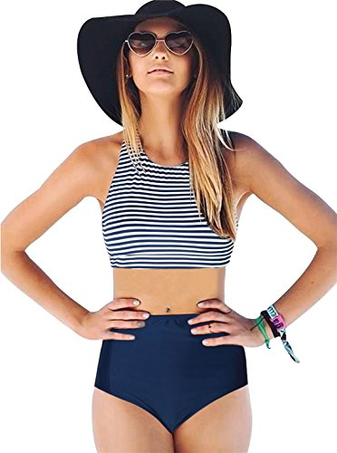 c02ce4ed02618 It has all the in fashion elements like high neck, stripes, racerback, and  high waist. Great two piece swimwear for summer, elastic, ...
