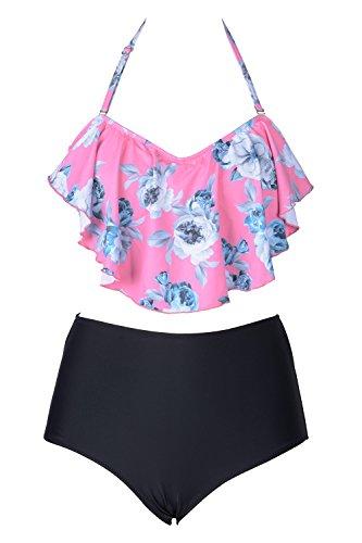 2a52aa393d5b Cupshe Fashion Women's Floral Printing Falbala High-Waisted Padding Halter Bikini  Set