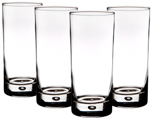 home essentials red series bubble 17oz highball glass  set